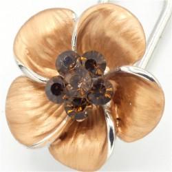 Barrette cheveux petite fleur marron
