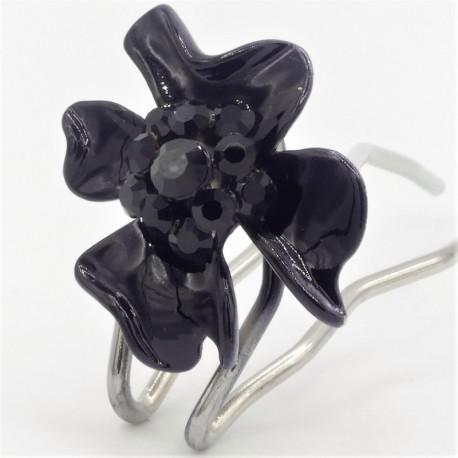 Accessoire cheveux fleur noire