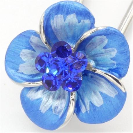 Barrette cheveux  petite fleur bleue