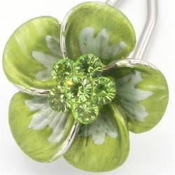 Barrette cheveux petite fleur bleue verte