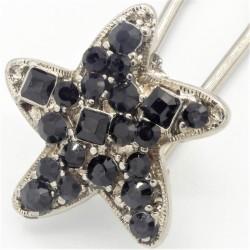 Epingle à chignon étoile strass noire