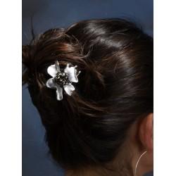 Pique chignon fleur argentée
