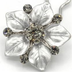 Accessoire cheveux fleur Ferra argentee