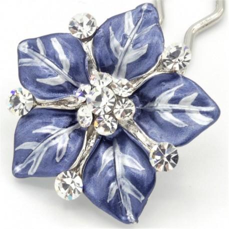 Accessoire cheveux fleur Ferra bleue marine