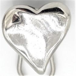 Barrette métal coeur argenté brillant
