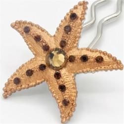 Barrette chignon étoile de mer marron