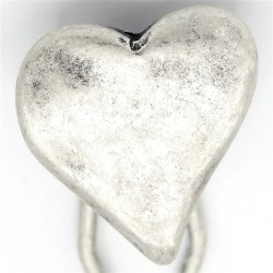 Barrette métal coeur argenté mat