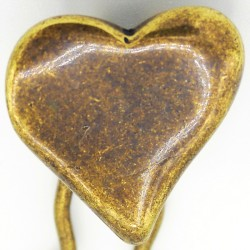 Barrette métal coeur dore vieilli