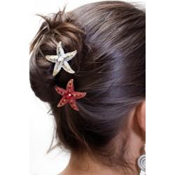 Barrette chignon étoile rouge